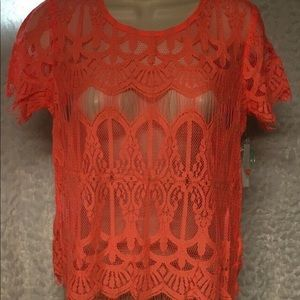 Decree Womens Top Size M Coral Pink Lace Scoop